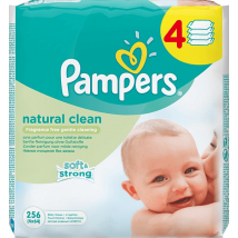 PAMPERS WIPES NATURALLY CLEAN KAMILKA 4 x 64 KS