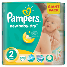 PAMPERS NEW BABY MINI 2 PLIENKY ( 3 - 6 KG) 100 KS