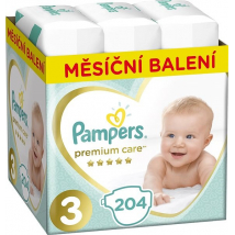 PAMPERS PREMIUM CARE 3 MIDI 5-9KG 204 KS
