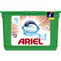 ARIEL TABLETY 3XACTIVE GÉL SENSITIVE 14 KS